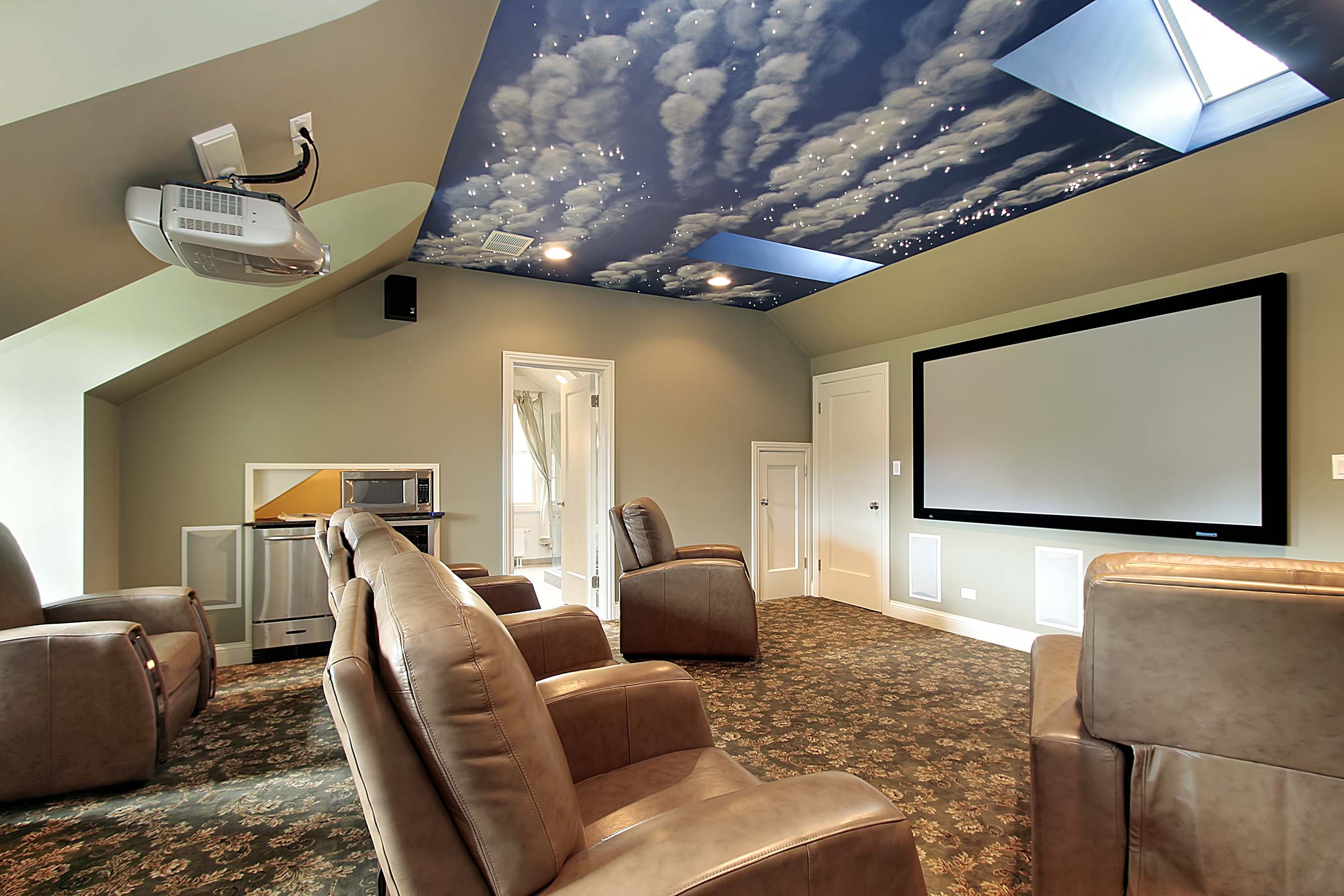 interior stunning home movie theater rooms design with arranged brown sofas on flora rug and mount on wall big screen also decorative ceiling ideas fabulous home movie theater rooms design full enter