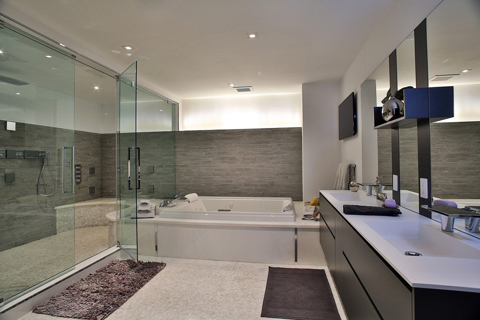 shower wall tile ideas Bathroom Contemporary with bath mats double sinks